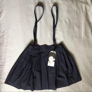 L'ecole des Femmes Navy Blue Suspender Skirt Large
